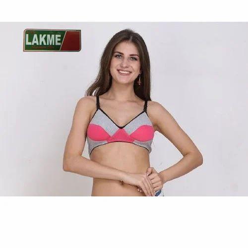 72aca864ea2a4 Pink And Grey Cotton Lycra Comfortable Sports Bra