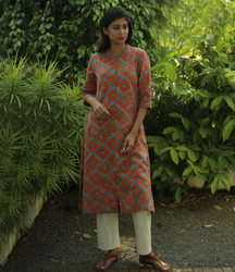 Dusty Orange Printed Cotton Flared Kurta