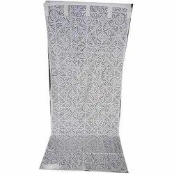 Chaman International Cotton White Applique Curtain