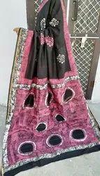 Govind Hand Batik Print Chanderi Silk Saree, 6.5 m