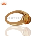 Citrine Gemstone Rose Gold Plated Finger Ring Jewelry