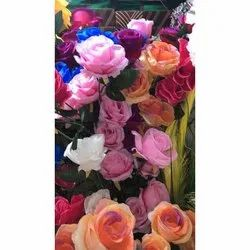 Polyester Rose Multi Color Artificial Flower, for Home Decoration, Packaging Type: Box