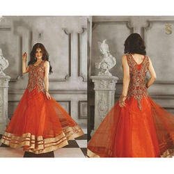 Ladies Sleeveless Embroidered Net Gown