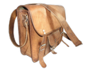 Curve Leather Satchel Bag with Front Pocket