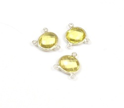 Lemon Quartz Bezel Connectors