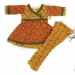Yellow Party Wear Kids Cotton Anarkali Suit