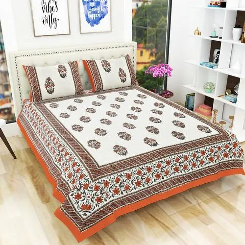 Tree Design Bedsheet Size 90x108 Inch Indian Hand Printed Orange /& Brown Color King Size Bedsheet with 2 Pillow Covers