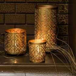 Set Of 3 Etched Metallic Candle Holders