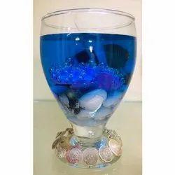 Blue Gel Wax Glass Candle, Packaging Type: Jar