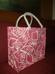 Pink Jute Bag With White Print