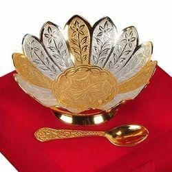 German Silver Lotus Shape Bowl Velvet Box Return Gift 4''''