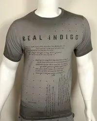 Mens Grey Round Neck T Shirt