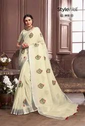 Stylewell Present Kavya Vol 2 Cotton Linen Embroidery Saree Collection