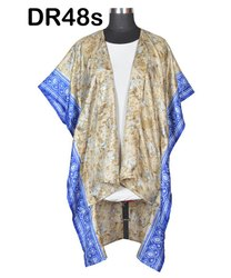 Vintage Recycled Silk Sari Front Open Kaftan Poncho DR48s