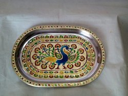 Metal Handicraft Stainless Steel Tray, For Home
