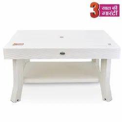 Avro Viva White Double Top Rattan Center Table, Weight: 6 Kg