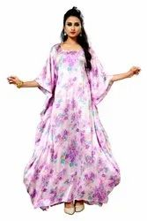 Women Satin Silk Floral Printed Kaftan