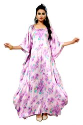 Women Satin Silk Floral Printed Kaftan