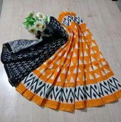 Bagru Ikkat Print Designer Chenderi Saree