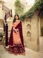 Mauve Satin Georgette Embroidered Pakistani Salwar Kameez