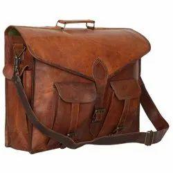 Unisex Brown Vintage Look Genuine Leather Shoulder/Laptop Bag