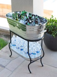 Stainless Steel Beverage Party Tub With Iron Stand