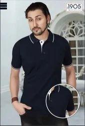 Mafatlal  premium t-shirt (NAVY BLUE WHITE)