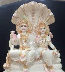 Vishnu Laxmi Marble Statue