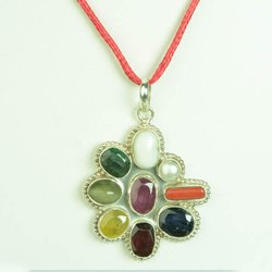 SSGJ Navratan Natural Stone 100% Original Stone Silver 92.5 Pendant Shree Shyam Gems And Jewellery