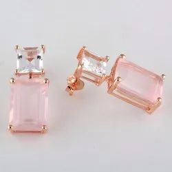 Rosequartz 925 Sterling Silver Rose Gold Fashion Earrings