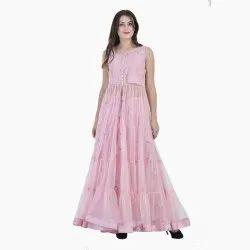 Pink Round Neck Ladies Anarkali Suit