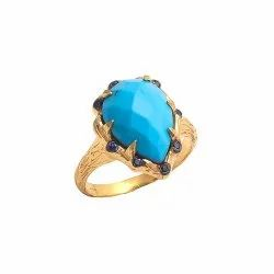 Turquoise Gold Plated Gemstone Ring