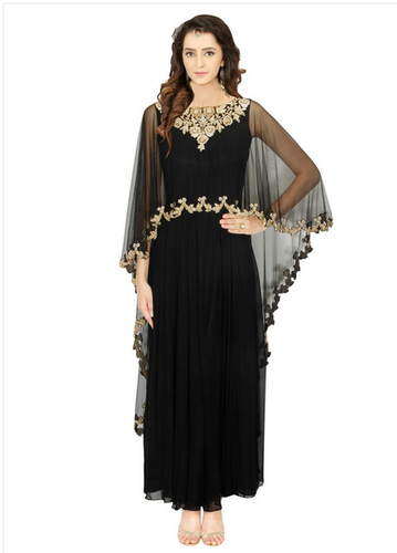 d5560e47716 Faux Georgette And Net Black Designer Gown at Rs 13481