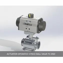 Actuator Operated 3 Piece Ball Valve TC End
