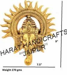 Metal Gold Plated Sun Ganesh