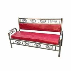 Stainless Steel Three Seater Red Sofa