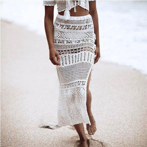 White Handmade Crochet Skirt Rs 525 Piece Lace India Overseas