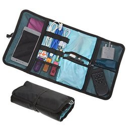 Black, Brown & Blue Travel Electronic Organizer Pouch Roll On Bag
