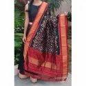 Black And Red Printed Stylish Silk Dupatta