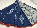 Casual Wear Dabu Indigo Hand Block Malmal Cotton Saree