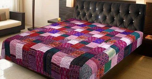 Patola Silk Handmade Patchwork Queen Bedspreads