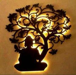 Wood Lord Buddha Under Tree Wall Hanging, Packaging Type: Box, For Wall Decoration