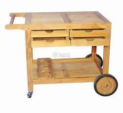 Tezerac Avranches Solid Wood Bar Trolley