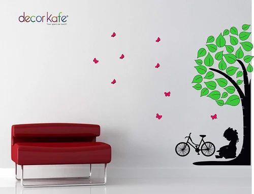 multicolour decor kafe little girl sitting under tree wall stickers