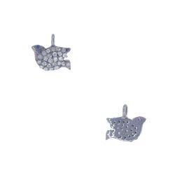 Pave Diamond Bird Charm Pendant
