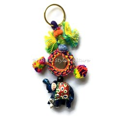 Key Chain Boho Silk Thread Mirror Pom Pom Balls Elephant & Beads Key Rings