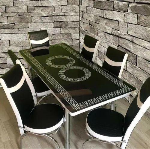 Modern Digital Printed Glass Top Wooden Base Extendable Dining Table Set Ergonna Reception Furniture À¤«à¤° À¤¨ À¤šà¤° Loyal Furnitures Coimbatore Id 22363655097