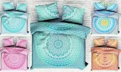 Floral Ombre Mandala  Printed Cotton Double Bed Sheet