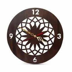 Hans Art Brown Designer Wooden Round Wall Clock, Size: 12x12 Inch
