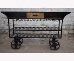 Shiva Creations Indian Style Iron Wood Trolley Restaurant Bar Counter Furniture Design